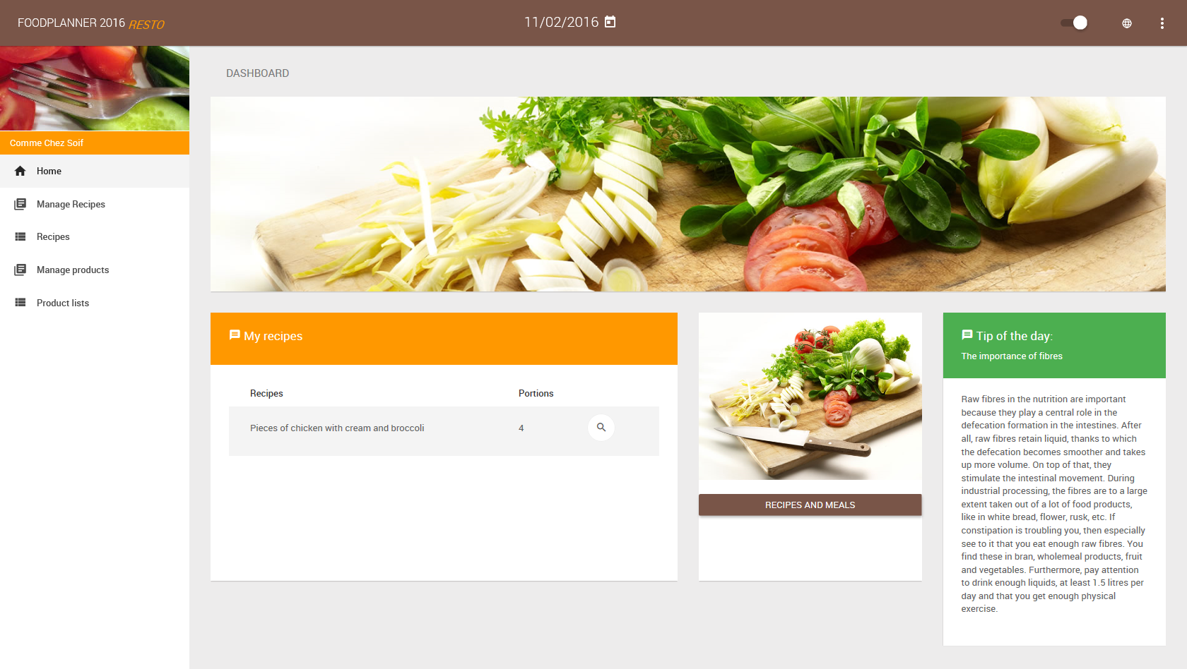 The Nubel Foodplanner RESTO - Dashboard