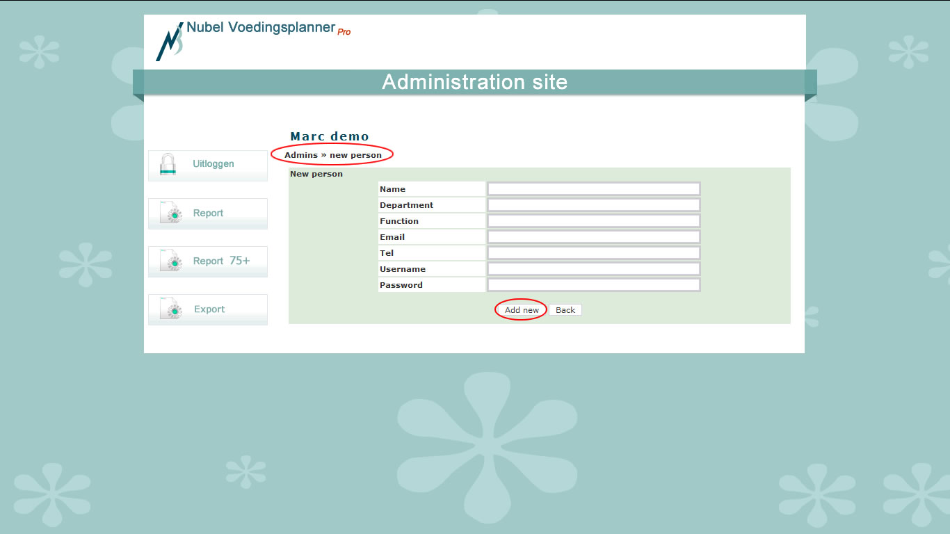 Nubel Voedingsplanner Pro: add/edit Admins